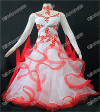 Modern Waltz Tango Ballroom Dance Dress, Smooth Ballroom Dress,Standard Ballroom Dress Girls with  peacock feather B-0021