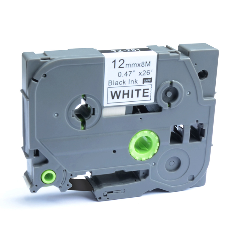 5PK TZe TZ-231 Black on White Label Tape For Brother P-Touch PT-D200 12mmx8m