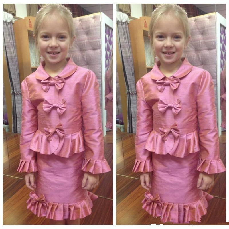 Girls   Formal Wears A-Line Two Pieces   Flower     Girl     Dress   For Interview Bow Full Sleeves Knee-Length Princess Gown Custom Made