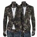 Camuflagem clássico 100% algodão fino blazer 2016 moda outono militares único outerwear terno breasted