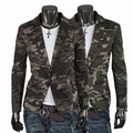 Classic Camouflage 100% cotton slim blazer 2016 autumn fashion the military single breasted suit outerwear