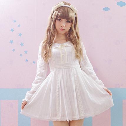 2016 Outono Rendas Lolita Vestido Branco Princesa Pérola Algodão de Moda Bonito Encantador Vestido Da Menina & Mulheres Doce Kawaii luva Cheia vestidos