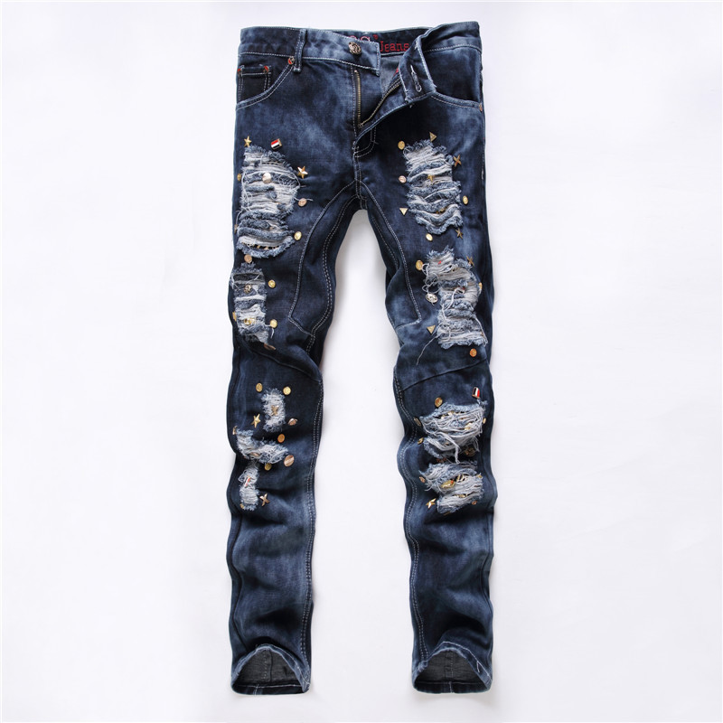 ФОТО Ripped jeans for men hip hop style rivet decorate biker jeans male distressed denim pants