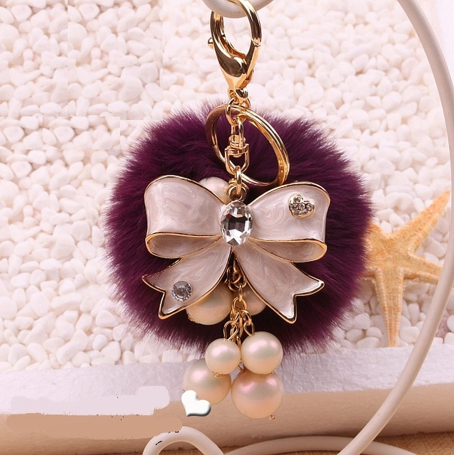 Car keychain women's luxury key chains  fox fur rabbit fur ball pompom bowknot personalized key chain pendants chaveiro f215