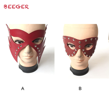 BEEGER Genuine Leather Mask Dom Master Devil Face Mask Role Play Fetish Wear Restraint Bondage Erogeous Sex Toy image