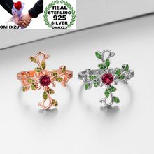 OMHXZJ Wholesale European Fashion Woman Girl Party Wedding Gift Flower AAA Zircon 925 Sterling Silver 18KT Rose Gold Ring RR398 цена и фото