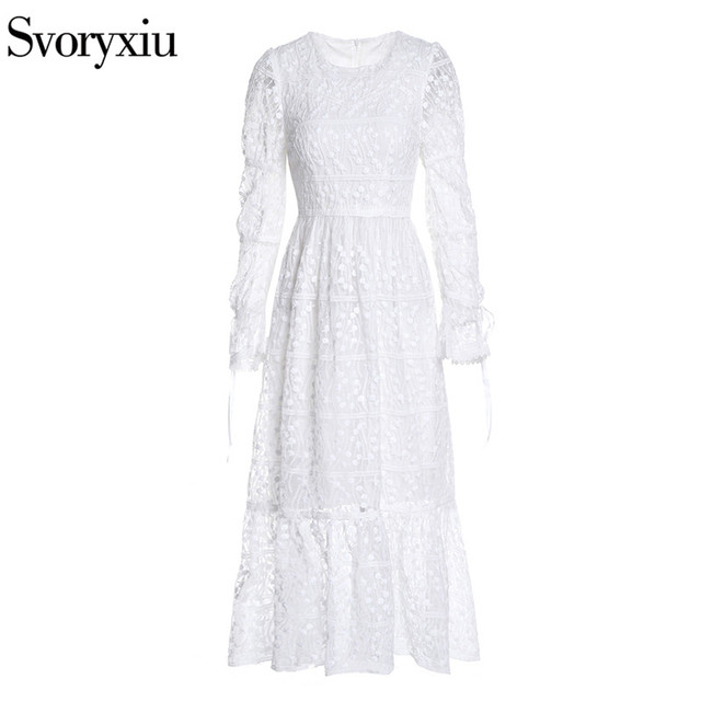 Flare Sleeve Fine Embroidery Patchwork Dress