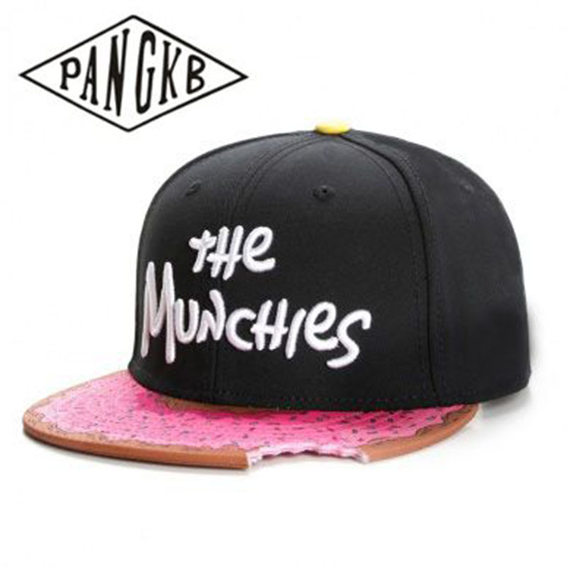 PANGKB Snapback Hat Baseball-Cap Munchies-Cap Hip-Hop-Headwear Snacks Gorras-Bone Pink