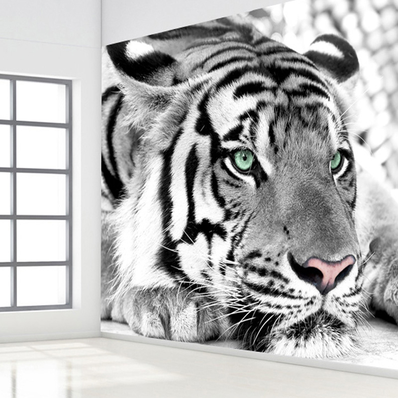 Custom Size 3D Stereo Black And White Tiger Photo Mural Wall Paper For Living Room TV Background Home Decor 3D Room Wallpaper