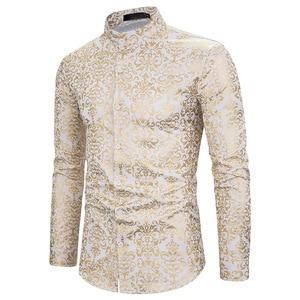 Мужская Облегающая рубашка, черная, золотая, бронзовая, с длинным рукавом