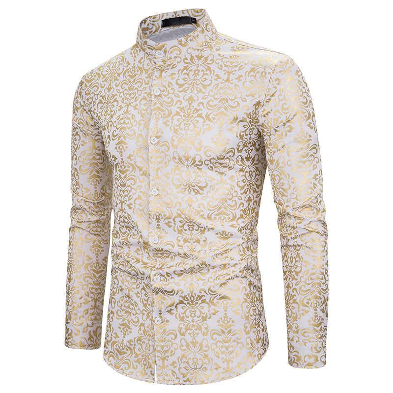 男性ヒップスター高級黒ゴールドブロンズプリントスリム長袖ドレスシャツ結婚式の夜クラブヒップホップパーティー歌手ステージシャツ