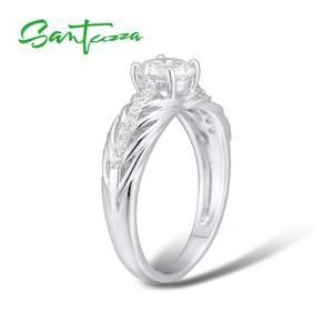 Image 5 - Santuzza conjunto de jóias para as mulheres puro 925 prata esterlina brilhante branco zircônia cúbica anel brincos conjunto simples moda jóias