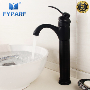 FYPARF Bathroom Faucet Tall Black Matte Deck Mounted Basin Mixer Faucet Cold Hot Vintage Single Tap Faucet Basin Faucets B1009H