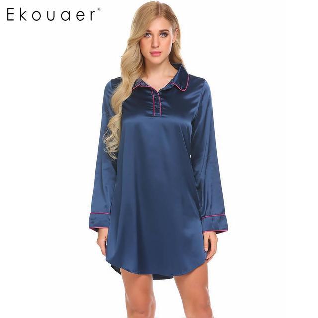 2656ee6dba Ekouaer Women Satin Boyfriend Style Sleepshirts Nightgown Turn Down Collar Long  Sleeve Sexy Night Dress Sleepwear Nighties