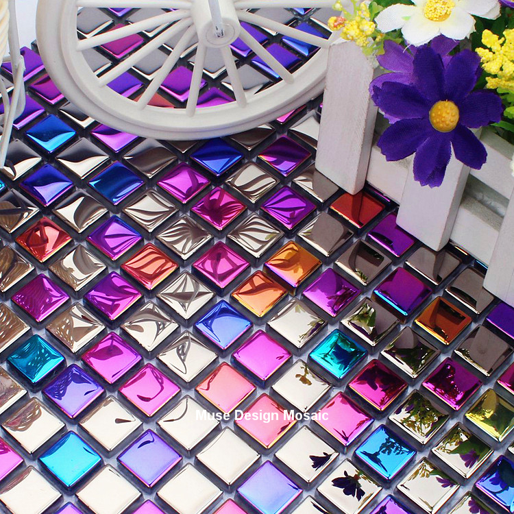 Iridescent Rainbow Electro Plated Glass Mosaic Tiles For
