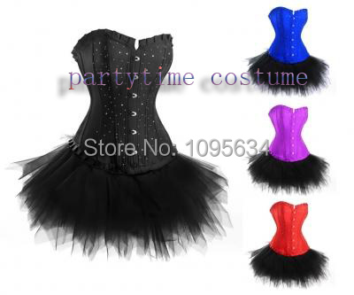 free shipping Burlesque  Diamante Corset Tutu Skirt Fancy Dress Outfit Costume 804 4 colors S-6XL