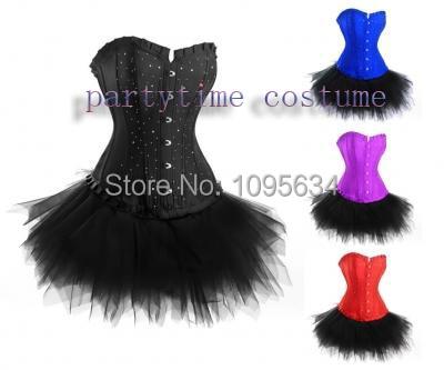 free shipping Burlesque  Diamante Corset Tutu Skirt Fancy Dress Outfit Costume 804 4 colors S-6XL