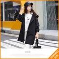 2017 весной новые Корейские свободные с капюшоном ветровки куртки и длинные участки женского колледжа ветер #0373