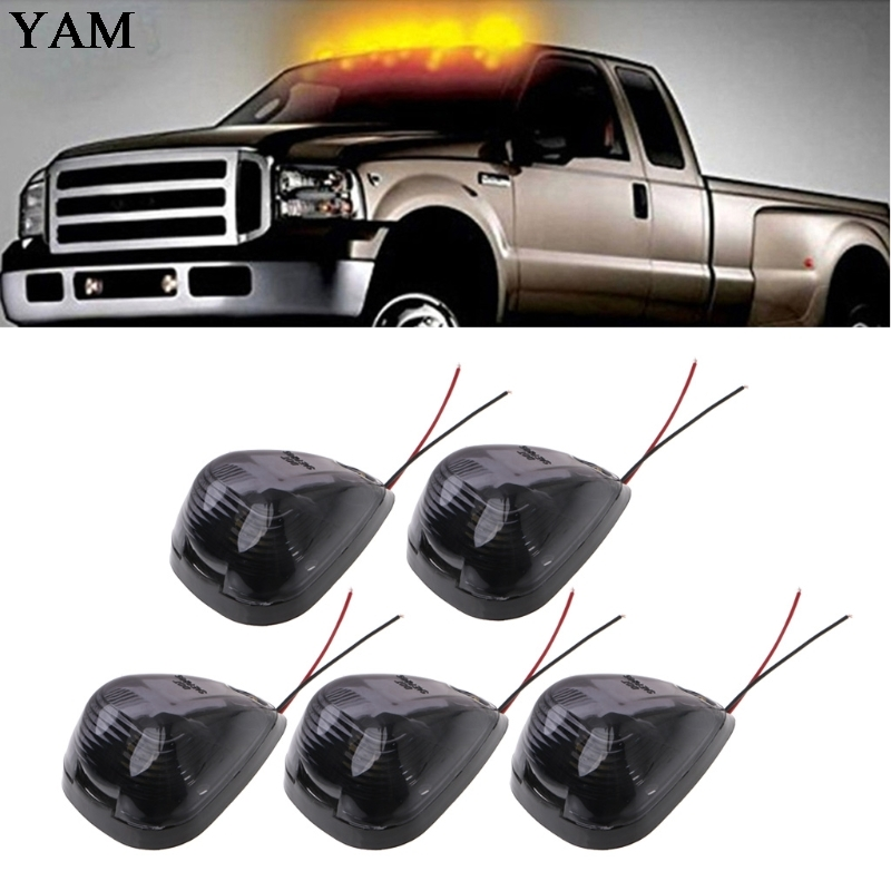 5 Pcs Cab Marker Clearance Light 12V 6W 9 LED Car Roof Running Lights Smoked Lamp Amber For SUV Truck toyl taxi cab roof light with magnetic base sign dc 12v yellow light