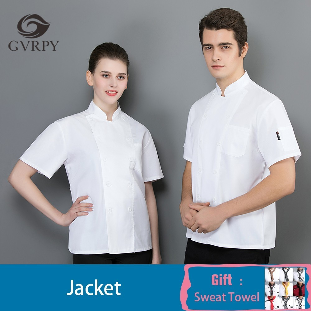 White Short Sleeve Kitchen Cooking Jacket Summer Food Service Restaurant Chef Uniform Cafe Hairdressers Salon Work Shirt Unisex