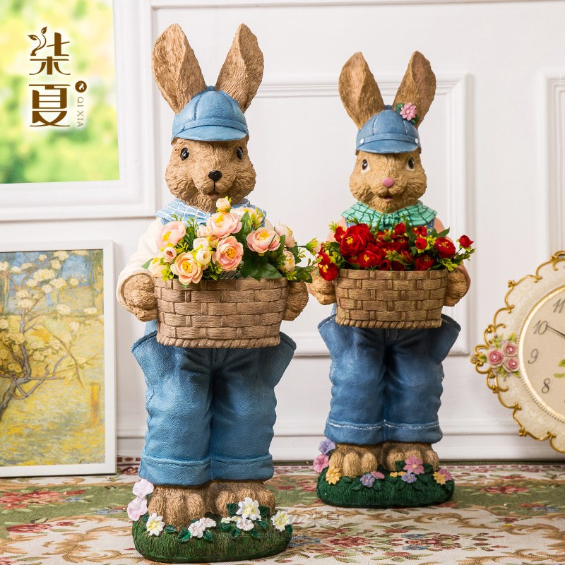 Big Resin Cute Lucky Rabbits Figurine Vintage Home Decor Crafts Decoration Objects Garden Rabbits Flower Pot Resin Animal Statue