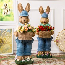 big resin cute lucky rabbits figurine vintage home decor crafts decoration objects garden flower pot animal statue