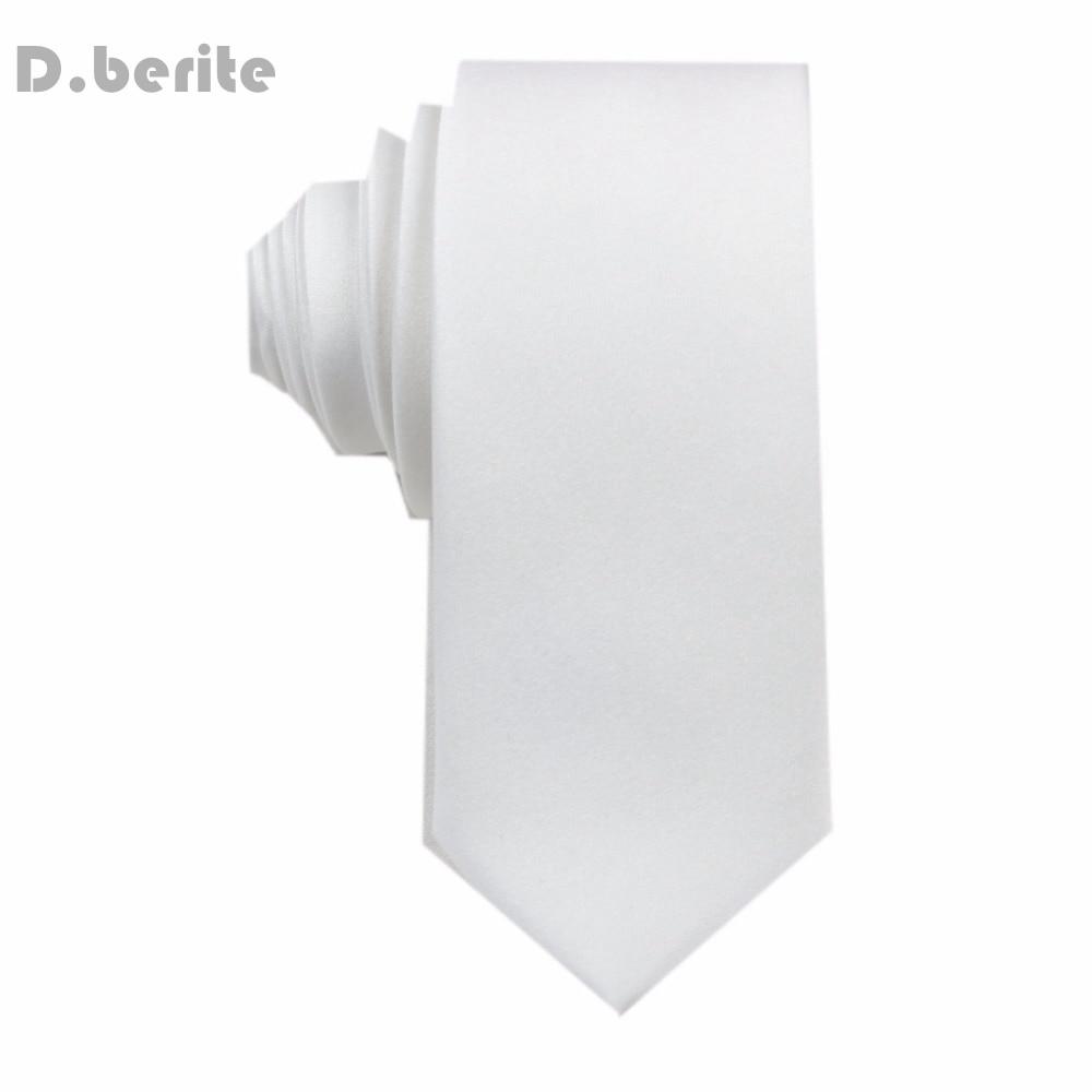 1pcs Men New Narrow Necktie Silk Ties Handmade White Men's Solid Plain Tie Wedding Groom Party Clothes Accessories Fashion SK05