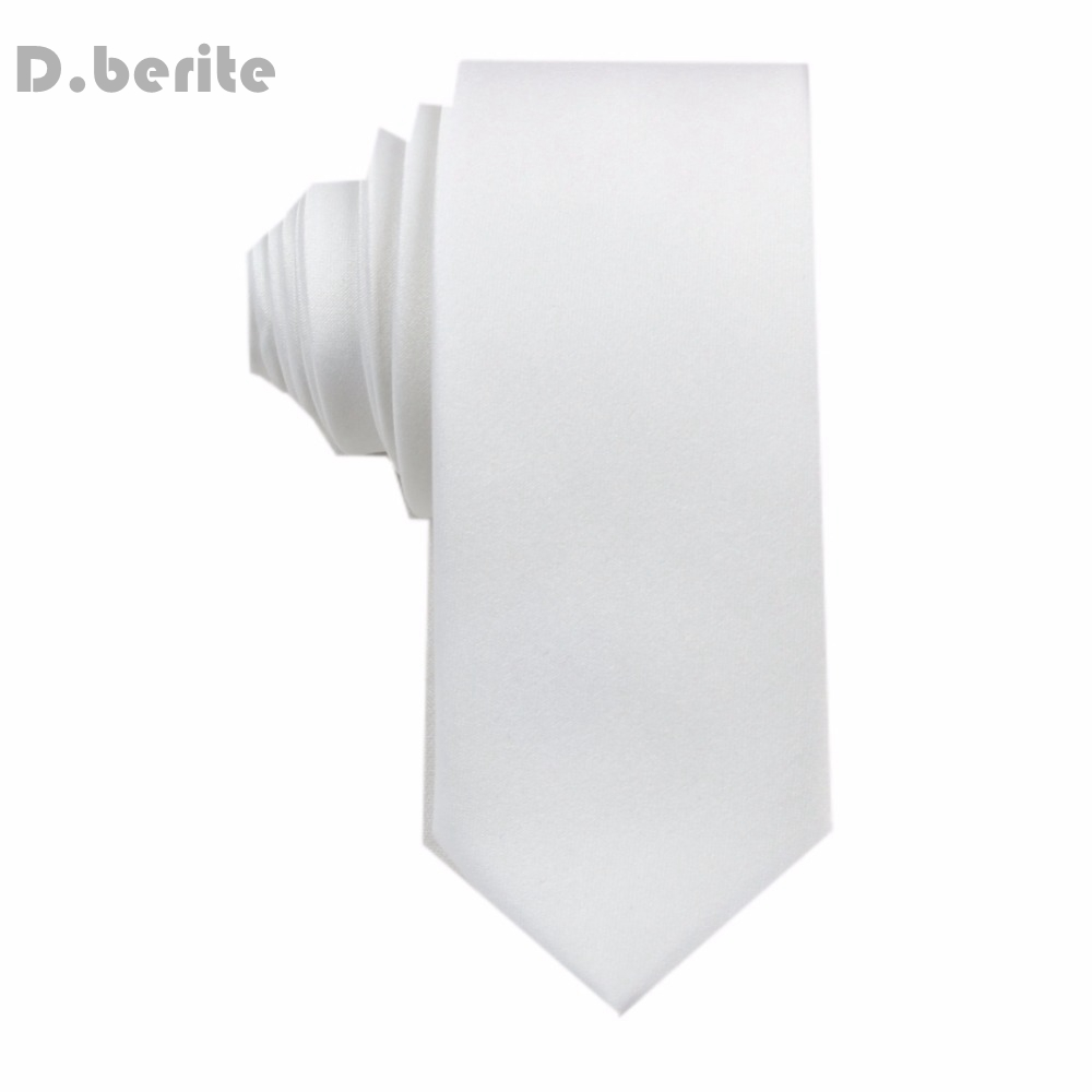 1pcs Men New Narrow Necktie Silk Ties Handmade White Men's Solid Plain Tie Wedding Groom Party Clothes Accessories Fashion SK05 image