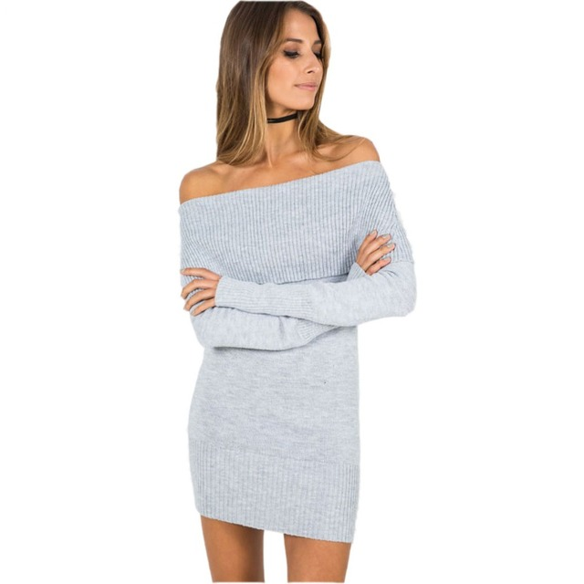 9349ac13f93 Winter off shoulder knitted bodycon dress Women long sleeve autumn sexy  dress party short white dresses