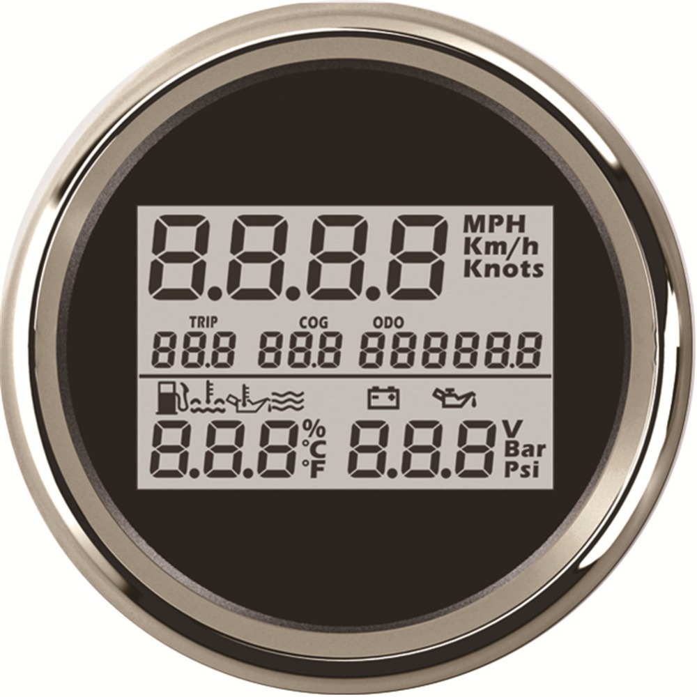 1pc 3 In 1 Multifunction 85mm Digital GPS Speedometer 9-32v Voltmeter Fuel Level & Water Level Gauge Oil Temp Gauge Oil Pressure 1 2 bsp 150mm lube devices brass oil level gauge sight glass for lathes