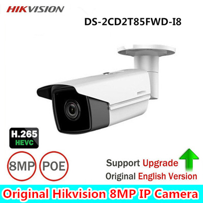 Hikvision DS-2CD2T85FWD-I8 8MP Network Bullet IP Camera Outdoor POE SD card 80m IR H265 CMOS DC12V Face Detection ONVIF Infrared hikvision english version ds 2cd2025fwd i 2mp ultra low light network mini bullet ip security camera poe sd card h 265