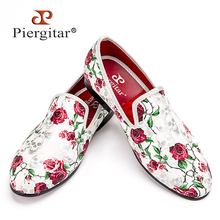 Piergitar 2016 New style Skull and Flowers Prints white color men shoes Fashion men smoking slipper Wedding Party men's loafers