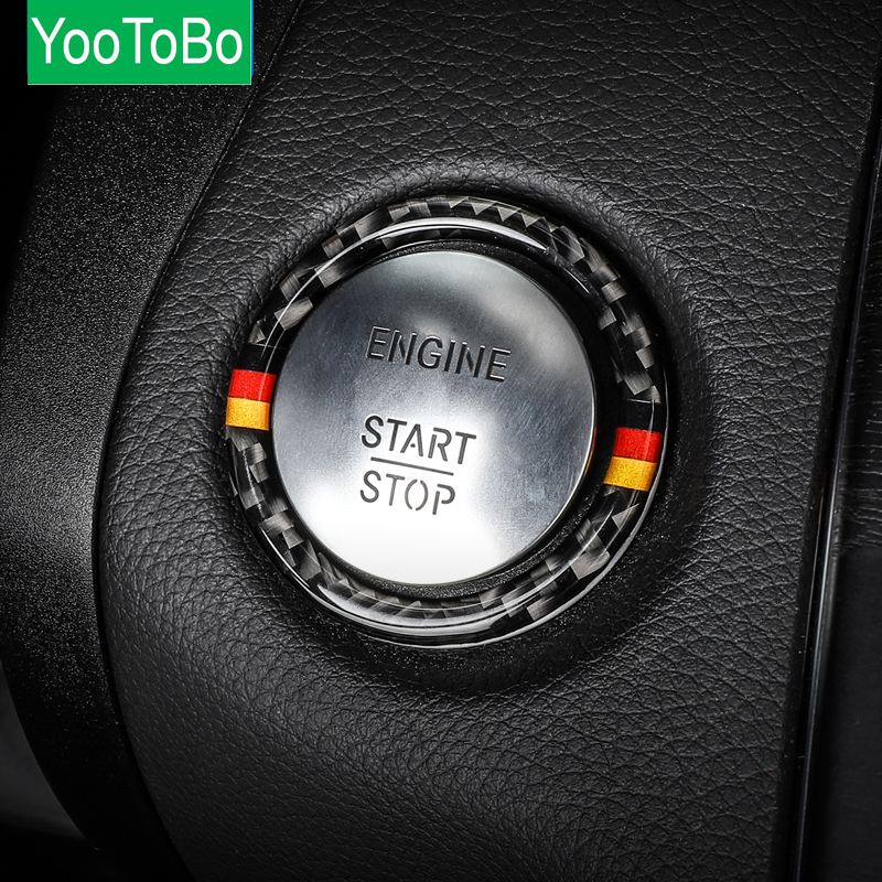 For Mercedes Benz C E Class W205 W213 GLC Car Engine Start Stop Ignition Key Ring Sticker Carbon Fiber Trim Interior Accessories