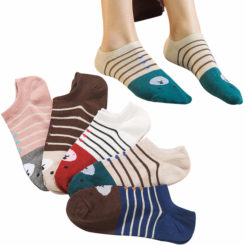 5 Pairs Women   Socks   Comfort Casual Cotton Girls Ankle Art   Socks   Durable Low Cut Invisible Striped Female   Sock   Cute Meias Hosiery