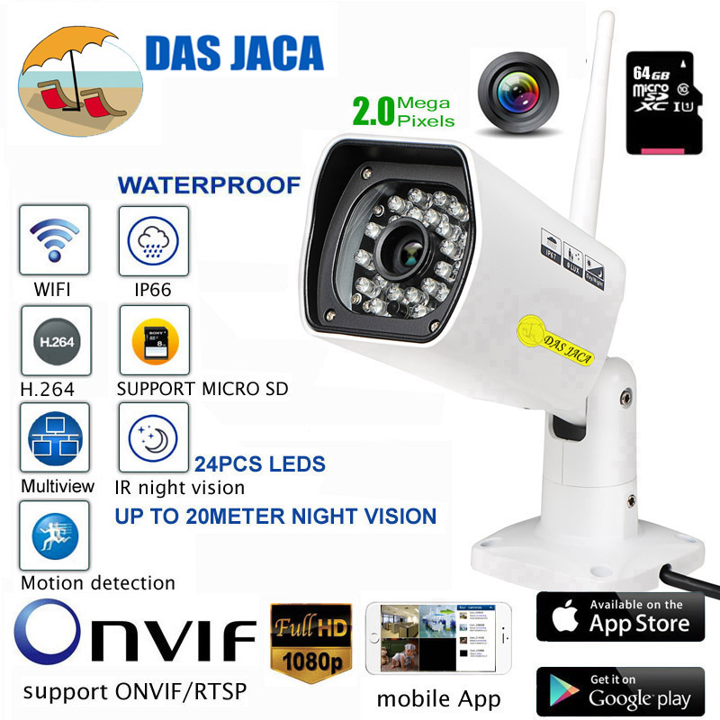 Das Jaca wifi security IP Camera 1080p 2mp hd Outdoor Surveillance Infrared Night Vision Camera wifi cctv dvr bullet camera 64GB vstarcam c51s 2mp outdoor ip camera hd 1080p wifi waterproof bullet camera night vision 20m seucrity cctv surveillance camera