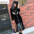 Dark velvet PU spliced long dress female black bird embroidery mermaid dress women buttons clothing maxi size LT336