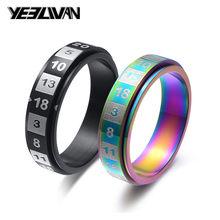 Anéis de girador pretos coloridos, 6mm, polonês, de aço inoxidável, para mulheres, alta qualidade, moda, joias de presente