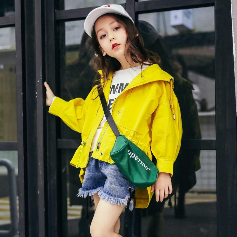 2018 на весну для девочек, короткая ветровка желтая куртка для девочек подростков; Детские Модные ботильоны в Корейском стиле на Age4 От 5 до 14 лет