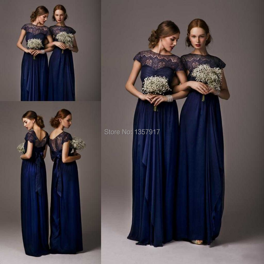 Online get cheap navy blue bridesmaid dresses lace short new navy blue sheer top neck lace chiffon short sleeves long bridesmaid dress maid of honor ombrellifo Images