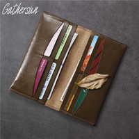 Gathersun 100% Echtem Leder Lange Brieftasche Für Männer Vintage Rindsleder Geld Tasche Leder Hohe Qualität Handgemachten Männer Geldbörse