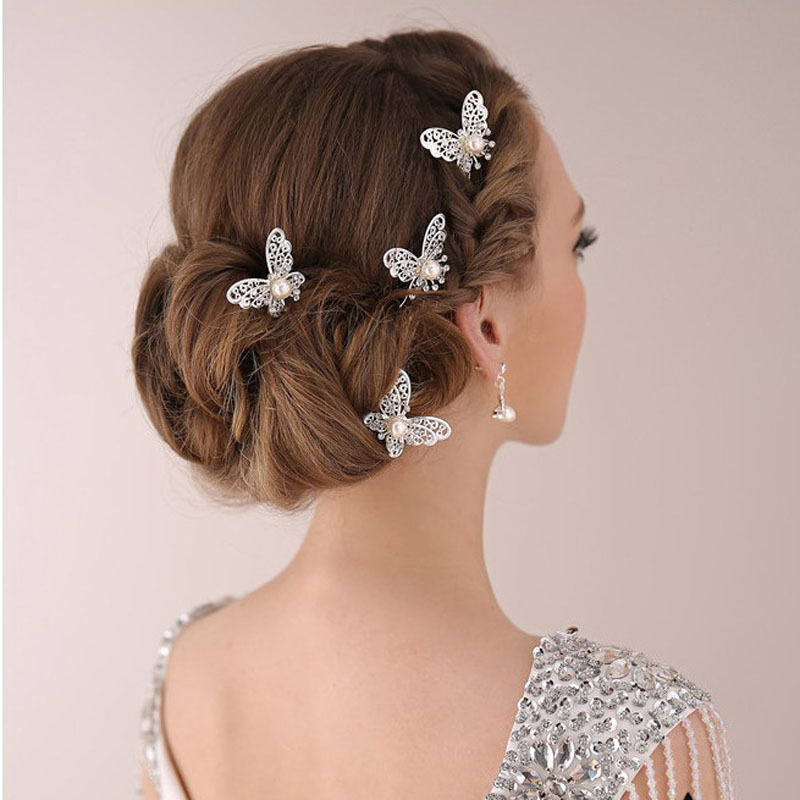 3 Pcs Bride Butterfly Hair Pin Wedding Dress Costume Headdress Shaped Hairpin Hair Accessories