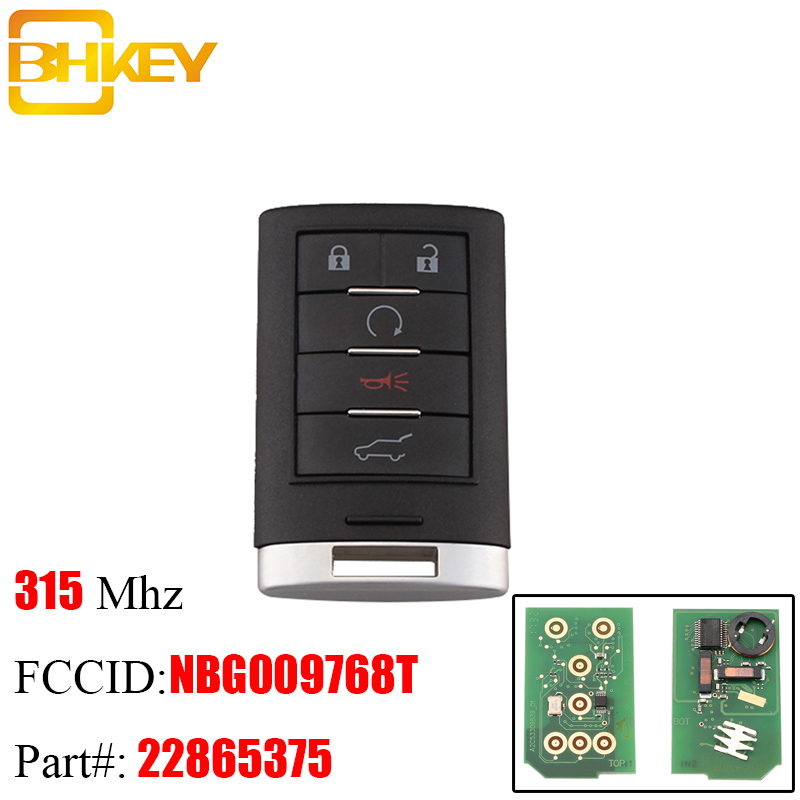 Bhkey 5buttons Smart Remote Key Keyless Fob For Cadillac