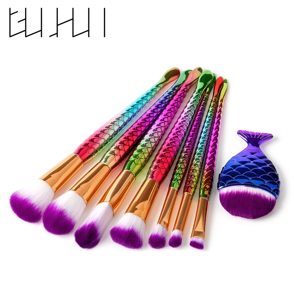 8pcs Mermaid Shaped Makeup Brush Set Big Fish Tail Foundation Powder Eyeshadow Make-up Brushes Contour Blending Cosmetic Brushs