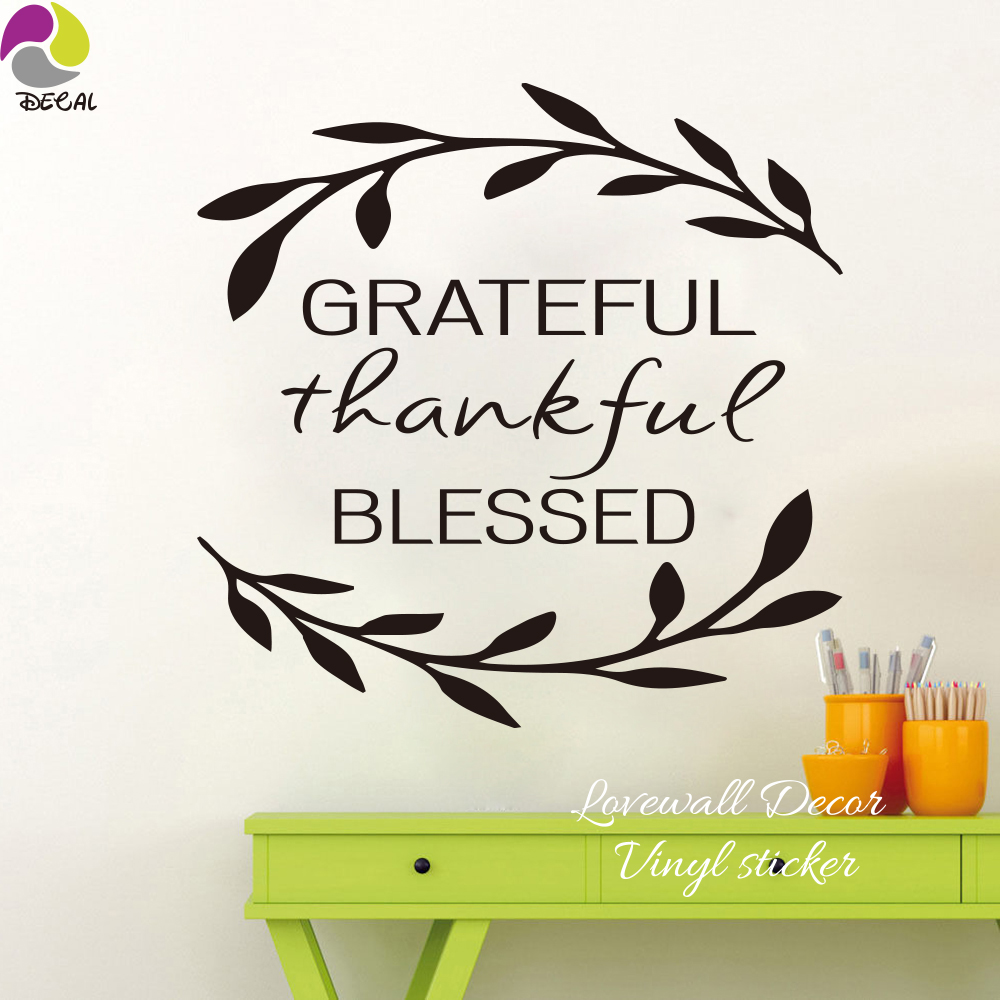 Grateful Thankful Blessed Wall Sticker Living Room Bedroom