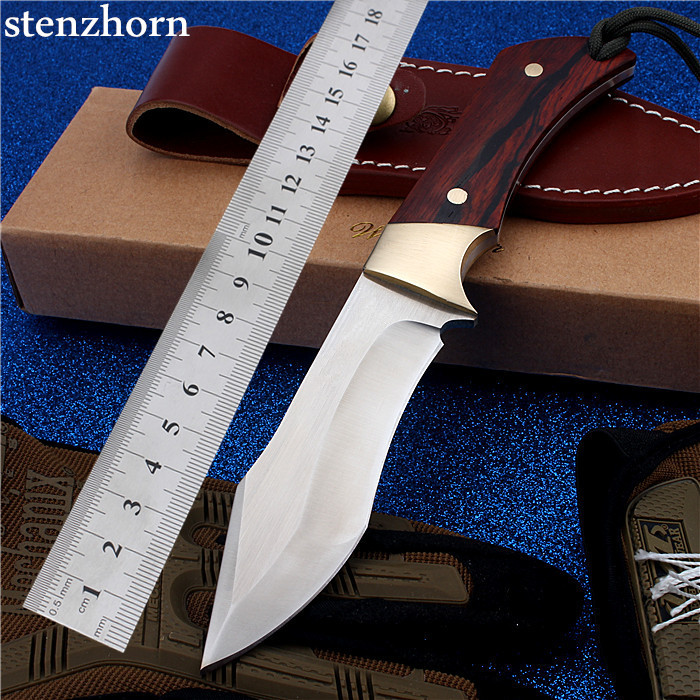 Stenzhorn New Real D2 Outdoor Camping With Small Straight Cutting Tool Self-defense Wilderness Survival Mountain Hardness Knife 2017 new free shipping d2 steel outdoor tactical knife self defense wilderness survival camping high hardness hunting knives