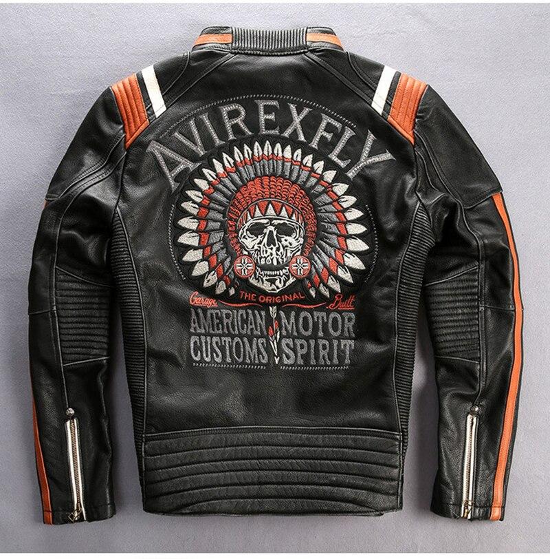 HTB1KjD aJzvK1RkSnfoq6zMwVXai 2019 Men Motorcycle Rider Jacket Genuine Leather Vintage Coat Stand Collar Embroidery Cowhide Leather Jacket DHL Free Shipping