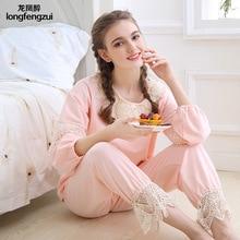 Autumn Homewear Women Pajamas Sets Cotton Princess Pyjamas Lace Embroidery O- Neck Sleepwear Lovely Girls Pijima Sleep Lounge