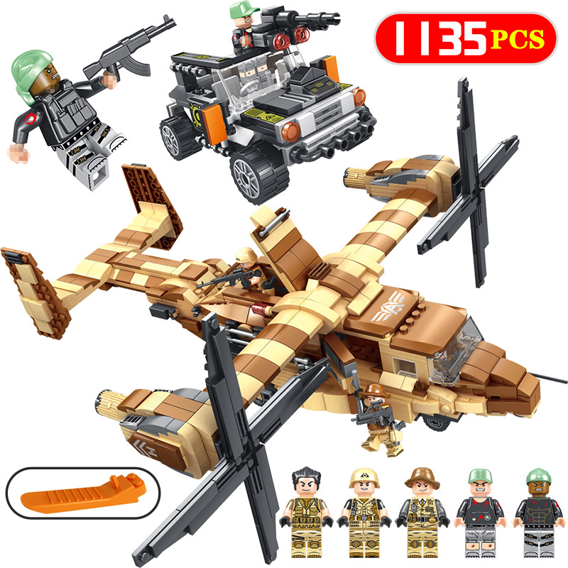 Toys & Hobbies Sweet-Tempered 1135 Pcs New Military Special Troops Series Osprey Helicopter Fire Mech Compatible Legoingly Model Building Bricks Blocks Toys