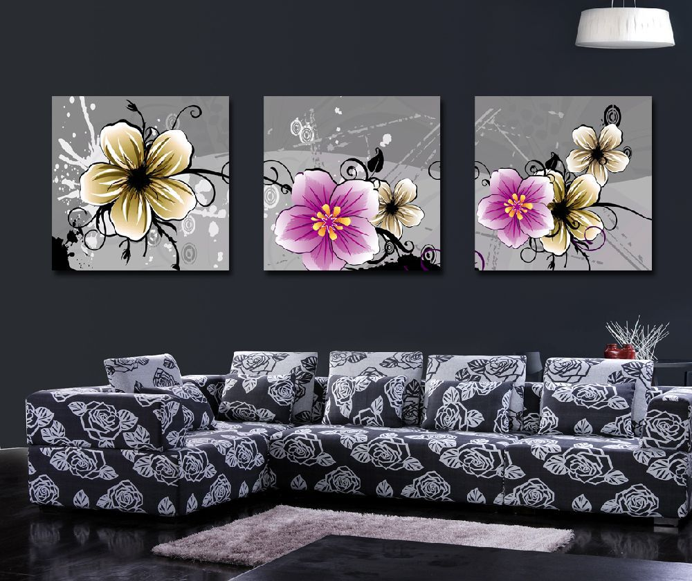 Beautiful Exquisite Flower Painting 3 Pieces Canvas Art Flowers Pictures For Living Room Modern Decoration Items