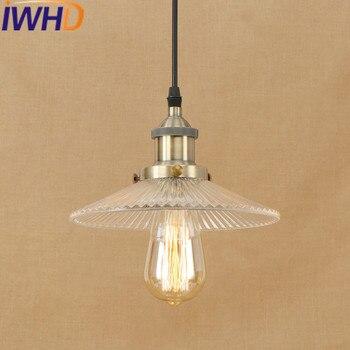 סגנון לופט בציר ברזל IWHD השעיה מטרייה מטבח זכוכית מנורה תעשייתית אורות תליון LED Luminaire תאורה פנימית